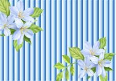 竖条花朵绿叶背景墙