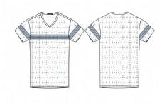 最新服装设计效果图短袖V领T恤矢量图编辑