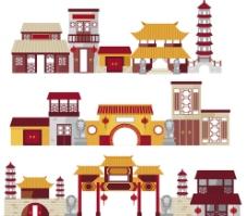 复古风格中国古建筑图片