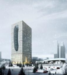 商业大楼雪景