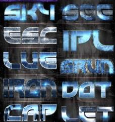 蓝色科技镜面反射效果PS字体样式