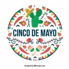 彩色Cinco de Mayo的背景