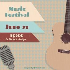 有吉他的音乐节海报