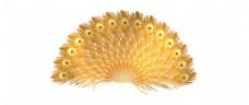 卡通黄色羽毛扇子png元素