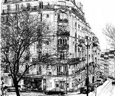 时尚手绘街道建筑