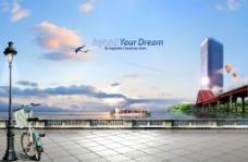 城市风光与交通运输PSD分层素材