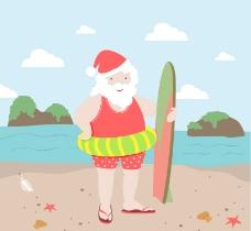 海边度假的圣诞老人矢量图