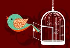 卡通小鸟和鸟笼插画