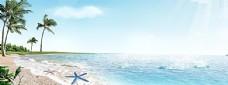 夏季大海沙滩背景