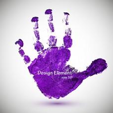 紫色手掌墨迹背景