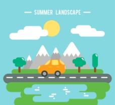 扁平背景下的夏季旅游景观