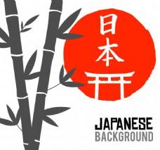 带红圆背景的竹