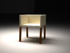 皮质四足椅子模型客厅装饰书房餐厅办公SY