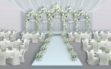 水蓝婚礼背景效果图
