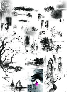 山水国画素材图片