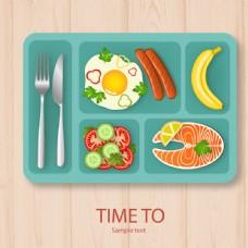 美味午餐食品矢量图片