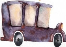 手绘旧上海时期车PNG透明素材