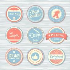 时尚圆形标签矢量设计