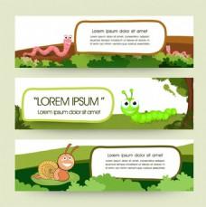 昆虫动物主题卡通横幅适用于横幅