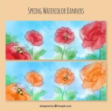 春天的水彩画的横幅