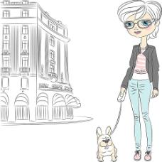 出门遛狗的女孩