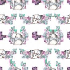花草中的可爱小熊猫png透明背景素材