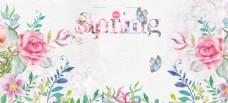 简约唯美春季促销海报背景设计