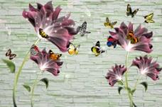 砖墙花朵背景墙