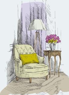 手绘单人扶手沙发矢量素材图片