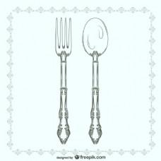 老式叉子和汤匙插图