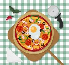 餐桌上的披萨俯视图矢量素材.