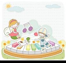 卡通儿童插画——用脚弾钢琴的小男孩