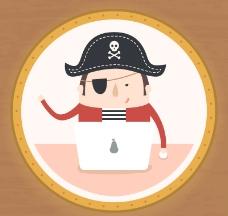 卡通独眼海盗