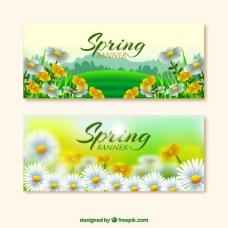现实的花朵春天的旗帜