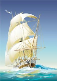 帆船矢量插画