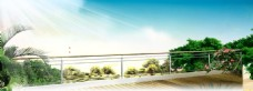 蓝天树叶护栏海报背景