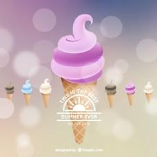 夏季冰淇淋背景