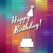 欢快的多边形快乐的生日卡片