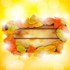 唯美秋天枫叶背景矢量素材