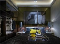 简约客厅长方形茶几装修室内效果图