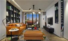 简约客厅灰色电视柜装修室内效果图