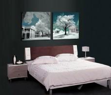 卧室蓝色樱花装饰画