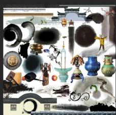 水墨中国风江南房地产设计素材图图片