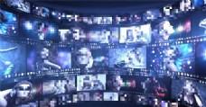 胶片影视动态墙展示动画AE模板