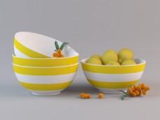 黄白条纹水果盆