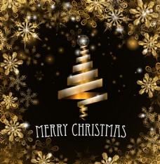金色的雪花与彩带圣诞树矢量海报