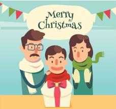 卡通圣诞家庭设计矢量素材下载
