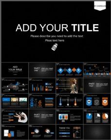 欧美黑色商务创意PPT模板下载