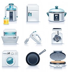 卡通厨房电器图标