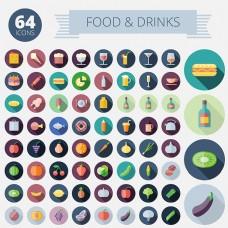 食物圆形图标矢量素材